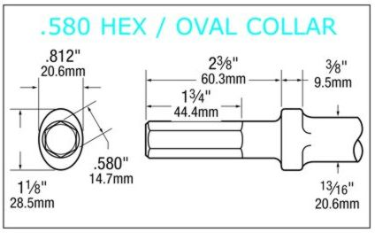 580 hex shank oval collar